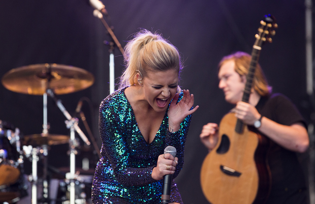 """Kelsea Ballerini performs during the first day of the American Country Music's """"Party for a Cause,"""" event at the Las Vegas Festival Grounds on Friday, April 1, 2016 in Las Vegas. Benjami ..."""