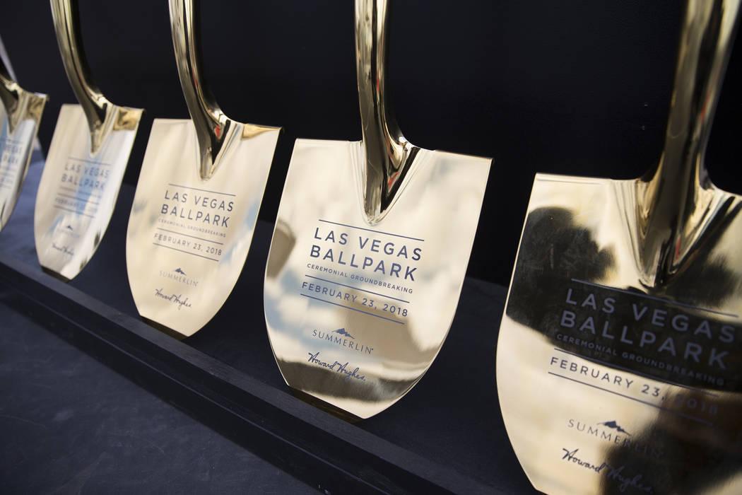Shovels during the groundbreaking ceremony for the Las Vegas 51s future stadium in Summerlin, Las Vegas, Friday, Feb. 23, 2018. Erik Verduzco Las Vegas Review-Journal @Erik_Verduzco