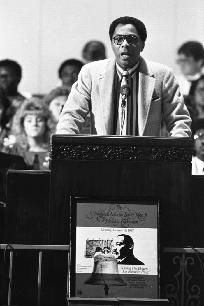 An interfaith service dedicated to remembering the life and works of slain civil rights leader Martin Luther King Junior. The service was sponsored by the Martin Luther King Jr. Committee of Las V ...