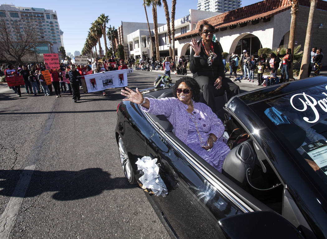 Ruby Duncan, a long-time advocate for civil rights and welfare rights in Las Vegas, waves during the Martin Luther King parade on 4th Street in downtown Las Vegas , Monday, Jan. 20, 2014.  She ser ...