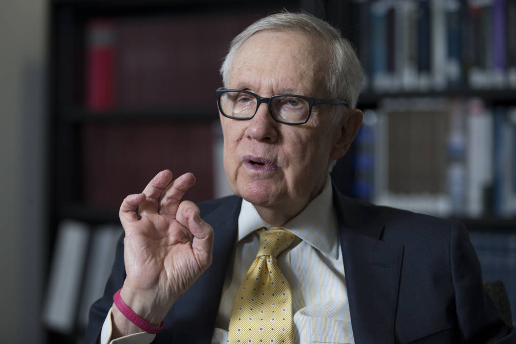 Former U.S. Senate Majority Leader Harry Reid during an interview at UNLV's William S. Boyd School of Law building in Las Vegas, Friday, March 16, 2018. (Erik Verduzco/Las Vegas Review-Journal) @E ...