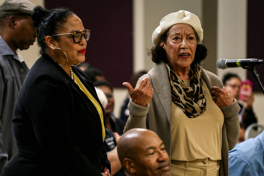 Anna Bailey, 90, right, a former dancer at the Moulin Rouge, speaks during a town hall meeting at the Pearson Community Center discussing the future of the Moulin Rouge site in Las Vegas, Thursday ...
