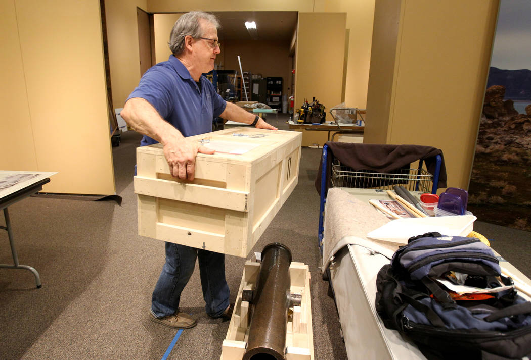 Nevada State Museum Exhibits Manager Tom Dyer shows a reporter the Fremont cannon which will be part of a traveling exhibit dedicated to the explorer John C. Fremont Wednesday, March 14, 2018. The ...