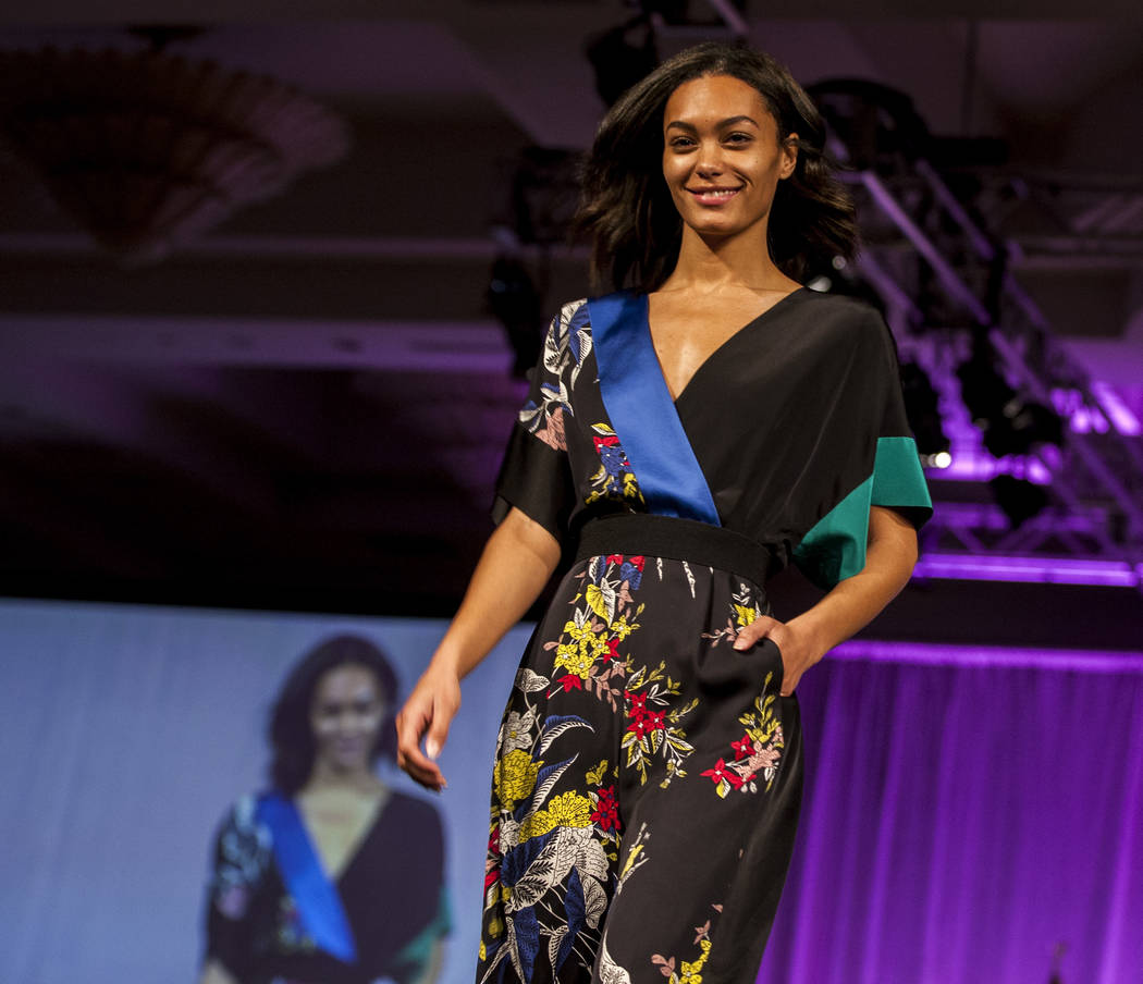 A model wears attire from Diane von Furstenberg during an auction and fashion show by the Clark County Medical Society Alliance to benefit UMC's pediatric unit at the Four Seasons Hotel in Las Veg ...