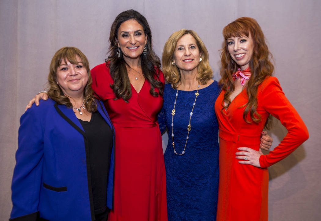 From left, Lisa Pacheco, director of grants and development at University Medical Center, Jessica Kartzinel, Clark County Medical Society Alliance co-president, Julie Murray, CEO and a principal a ...