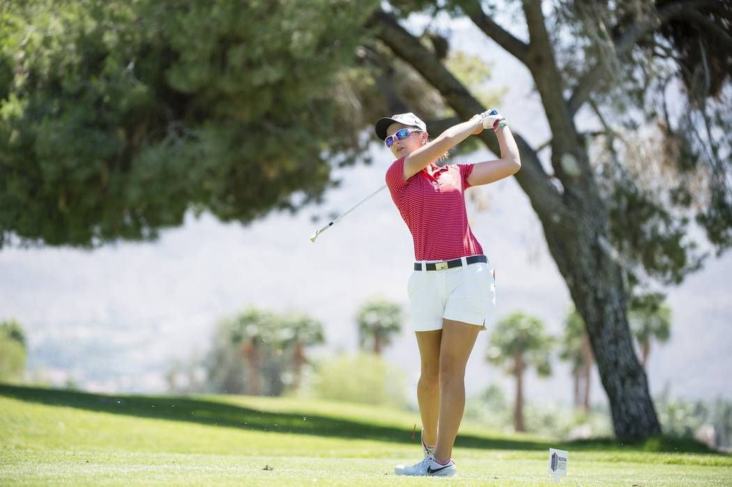 UNLV senior Mackenzie Raim, shown last season, is alone atop the leaderboard after one round of the Mountain West Championship in Rancho Mirage, Calif. (UNLV)