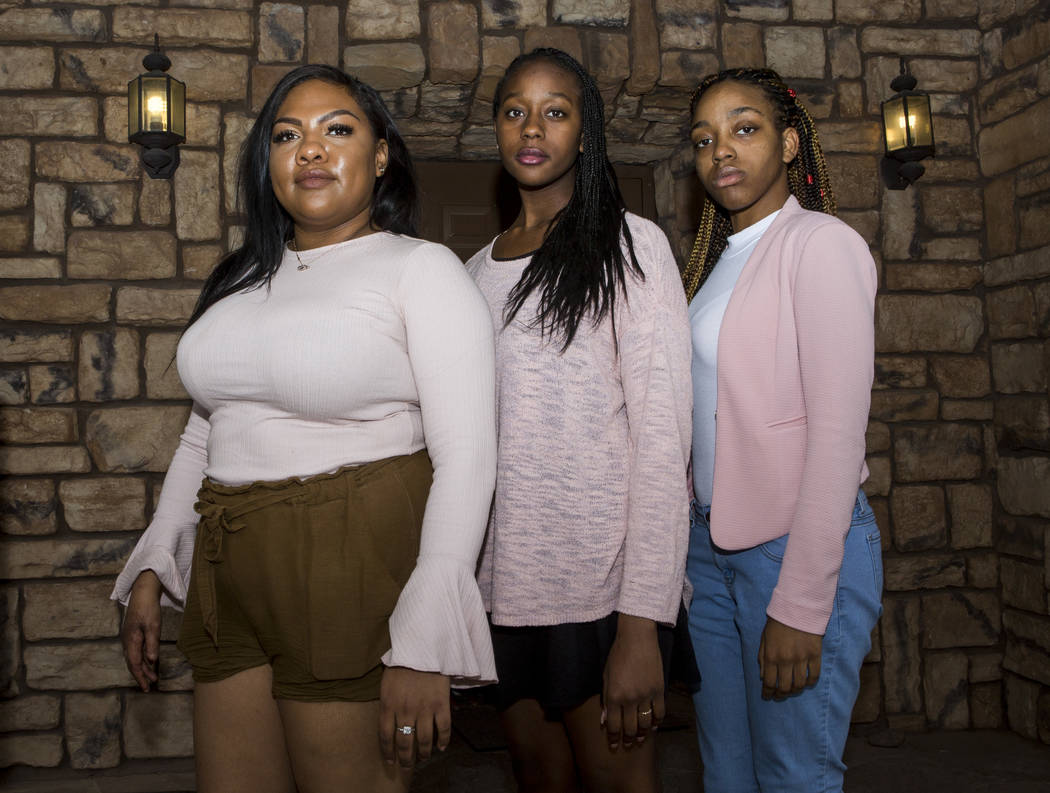 Black Lives Matter UNLV members, from left, Micajah Daniels, president, Courtney Jones, vice president, and Jameelah Lewis, treasurer, at the Houssels House on UNLV's campus in Las Vegas on Wednes ...
