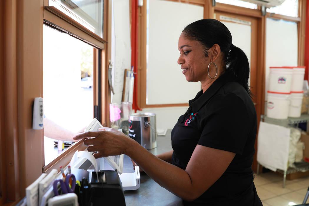 Owner Denette Braud works at Braud's Funnel Cake at Town Square in Las Vegas on Friday, March 23, 2018. Andrea Cornejo Las Vegas Review-Journal @dreacornejo