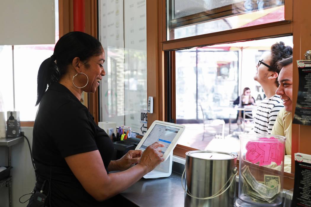 Owner Denette Braud works at Braud's Funnel Cake at Town Square in Las Vegas, March 23, 2018. Andrea Cornejo Las Vegas Review-Journal @dreacornejo