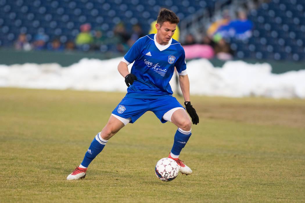 Reno 1868 forward Danny Musovski plays against Colorado Springs Switchbacks FC on March 3 at Greater Nevada Field in Reno, Nev. (David Calvert/Reno 1868 FC)