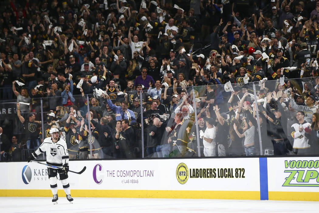 Golden Knights fans cheer at the end of Game 1 of an NHL hockey first-round playoff series against the Los Angeles Kings at T-Mobile Arena in Las Vegas on Wednesday, April 11, 2018. Chase Stevens ...