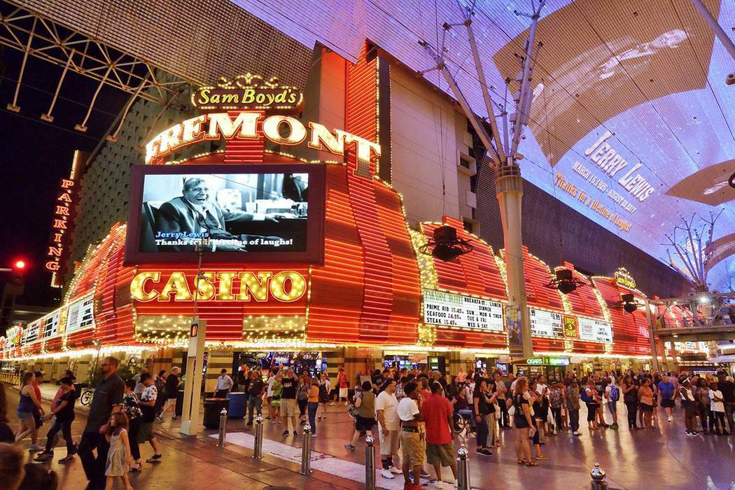 The Fremont hotel-casino and the canopy of the Fremont Street Experience in downtown Las Vegas on Monday, Aug. 21 2017. (Photo/Las Vegas News Bureau/Bill Hughes)