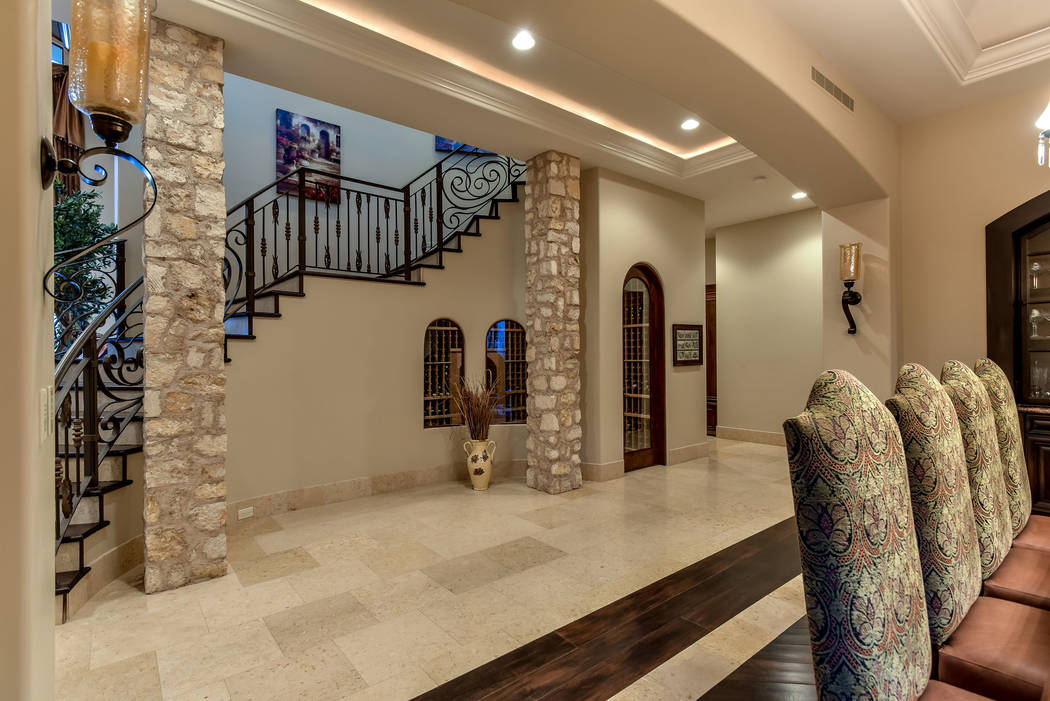 Imported Egyptian travertine flooring is featured throughout the home. (Today's Realty Inc.)