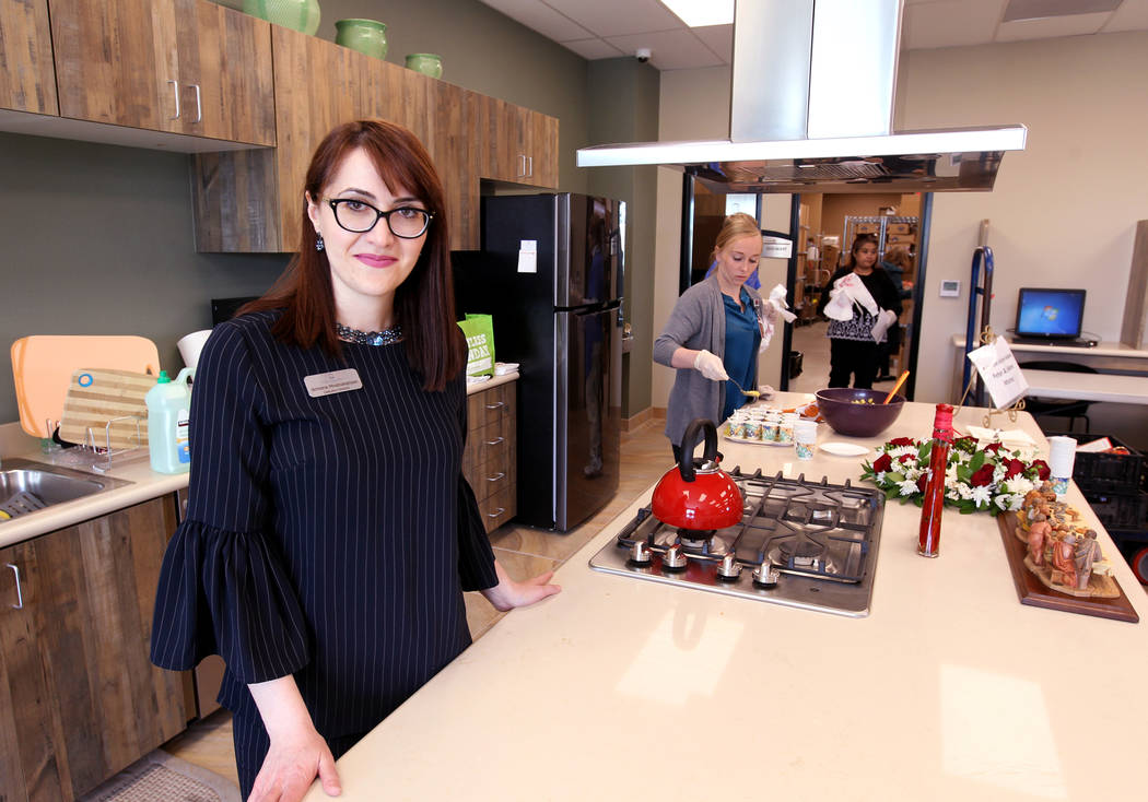Armena Mnatsakanyan, executive director for Lutheran Social Services of Nevada, in the demonstration kitchen at the nonprofit's new $3.75 million headquarters at 4323 Boulder Highway in Las Vegas  ...