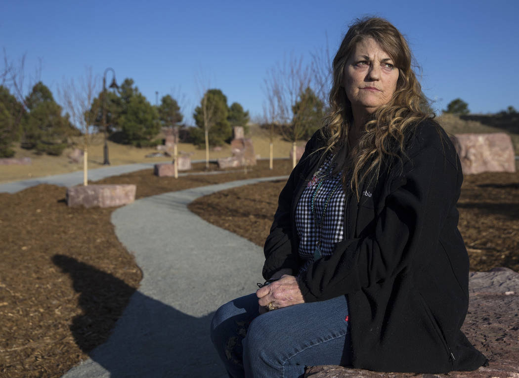 Rena Medek's daughter Micayla Medek was one of 12 people killed in the Aurora theater shooting on July 20, 2012. Photo taken at Reflection Memorial Garden on Tuesday, March 13, 2018, in Aurora, CO ...