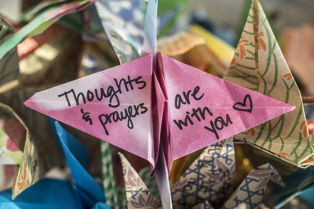 Paper cranes created by the 7/20 Memorial Foundation for  those involved in the Parkland, FL. shooting on Tuesday, March 13, 2018, at Aurora City Hall, in Aurora, CO. Benjamin Hager Las Vegas Revi ...