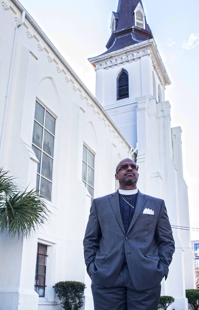 Rev. Eric Manning outside Emanuel African Methodist Episcopal Church on Wednesday, March 21, 2018, in Charleston, SC. Dylann Roof shot and killed 9 church members on June 17, 2015. Benjamin Hager  ...