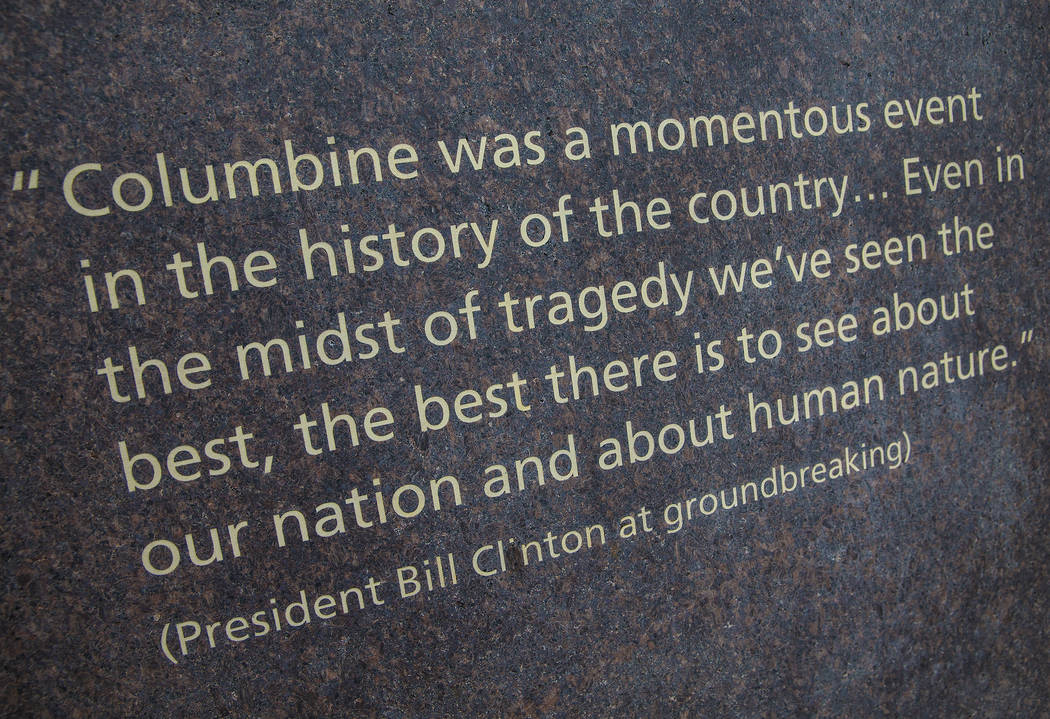 Quotes from those involved with the Columbine school shooting line the walls at the Columbine Memorial on Wednesday, March 14, 2018, in Littleton, CO. Benjamin Hager Las Vegas Review-Journal @benj ...