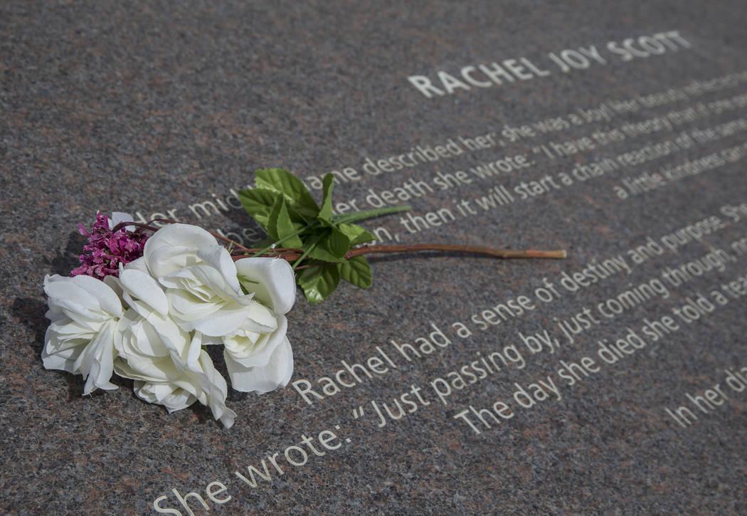 An inscription honoring shooting victim Rachel Joy Scott at the Columbine Memorial on Wednesday, March 14, 2018, in Littleton, CO. Benjamin Hager Las Vegas Review-Journal @benjaminhphoto