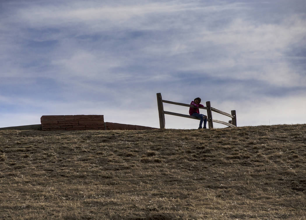 Ava Gallegos looks down on the Columbine Memorial on Wednesday, March 14, 2018, in Littleton, CO. Eric Harris and Dylan Klebold, seniors at Columbine High School, shot and killed 13 people and inj ...