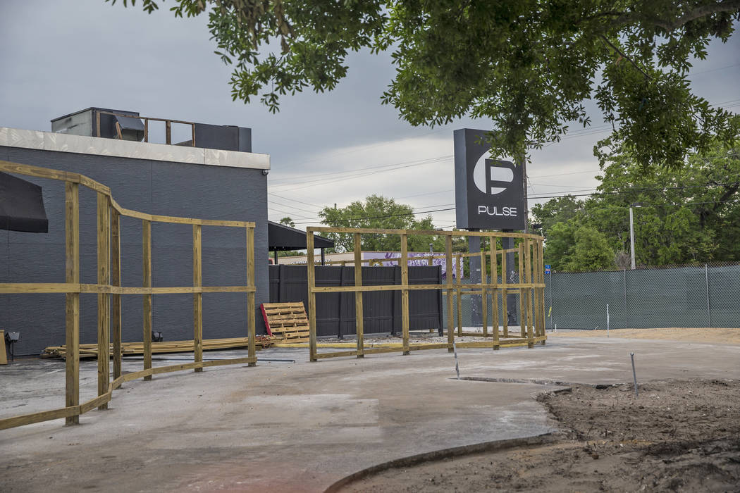 Construction for a planned memorial for the 49 people killed at Pulse nightclub on June 12, 2016. Photo taken on Monday, March 19, 2018, outside Pulse nightclub in Orlando, FL.  Benjamin Hager Las ...