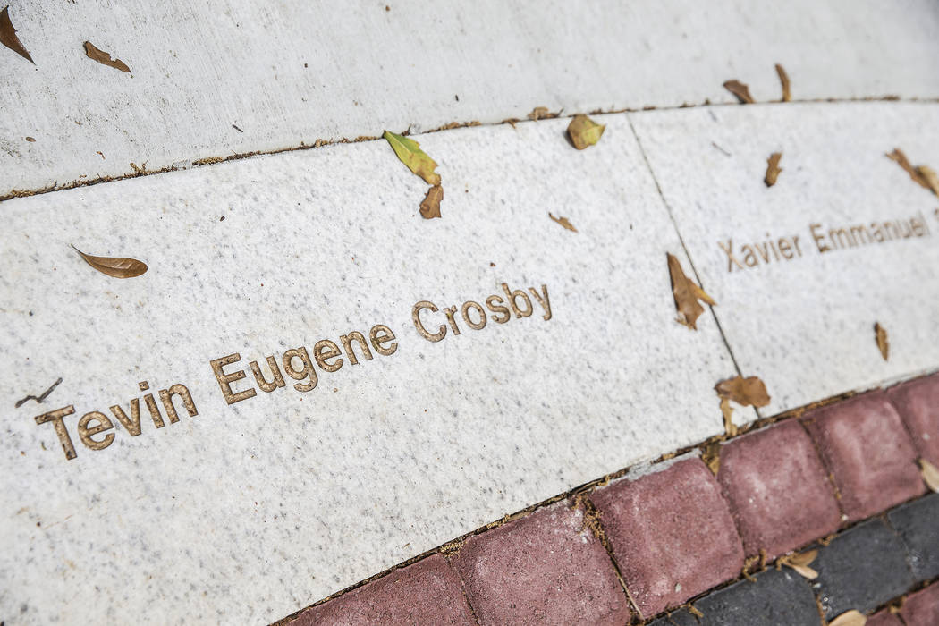 Stone inscriptions memorializing the victims of the Pulse nightclub shooting on Monday, March 19, 2018, at Colonialtown Square Park, in Orlando, FL. Benjamin Hager Las Vegas Review-Journal @benjam ...
