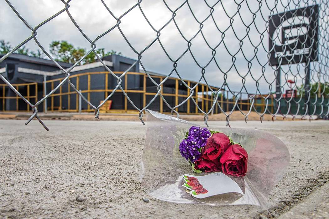 Flowers left outside Pulse nightclub on Monday, March 19, 2018, in Orlando, FL. Omar Mateen killed 49 people and wounded 58 inside the club on June 12, 2016, in the second largest mass shooting in ...