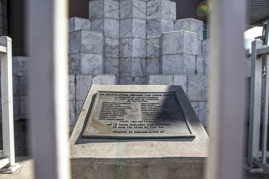 The monument honoring the victims of the San Ysidro McDonald's massacre on Thursday, March 8, 2018, in San Ysidro, CA. James Huberty shot and killed 21 people and injured 19 at a McDonald's in San ...