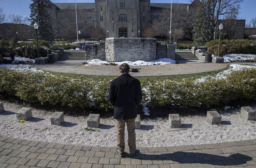Mark Owczarski, assistant vice president for university relations, at the April 16 Memorial on Thursday, March 22, 2018, at Virginia Tech University, in Blacksburg, VA. Seung-Hui Cho shot and kill ...