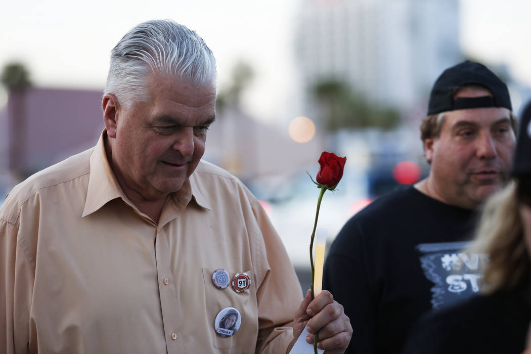 Clark County Commissioner Steve Sisolak marches during the Route 91 Candlelight Vigil near Mandalay Bay in Las Vegas on Sunday, April 1, 2018. Andrea Cornejo Las Vegas Review-Journal @dreacornejo