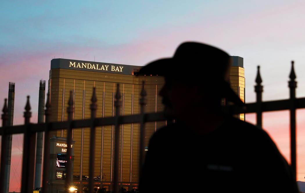 Jeff Grumbles attends the Route 91 Candlelight Vigil near Mandalay Bay in Las Vegas on Sunday, April 1, 2018. Andrea Cornejo Las Vegas Review-Journal @dreacornejo