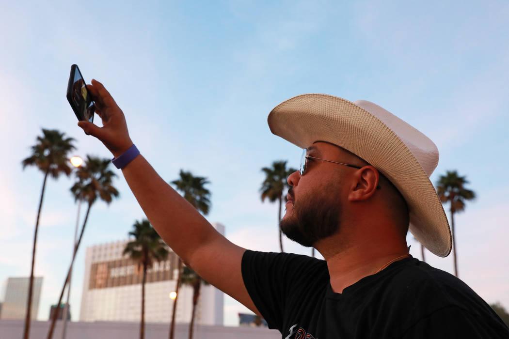 Giovanni Parra, of California, attends the Route 91 Candlelight Vigil near Mandalay Bay in Las Vegas on Sunday, April 1, 2018. Andrea Cornejo Las Vegas Review-Journal @dreacornejo