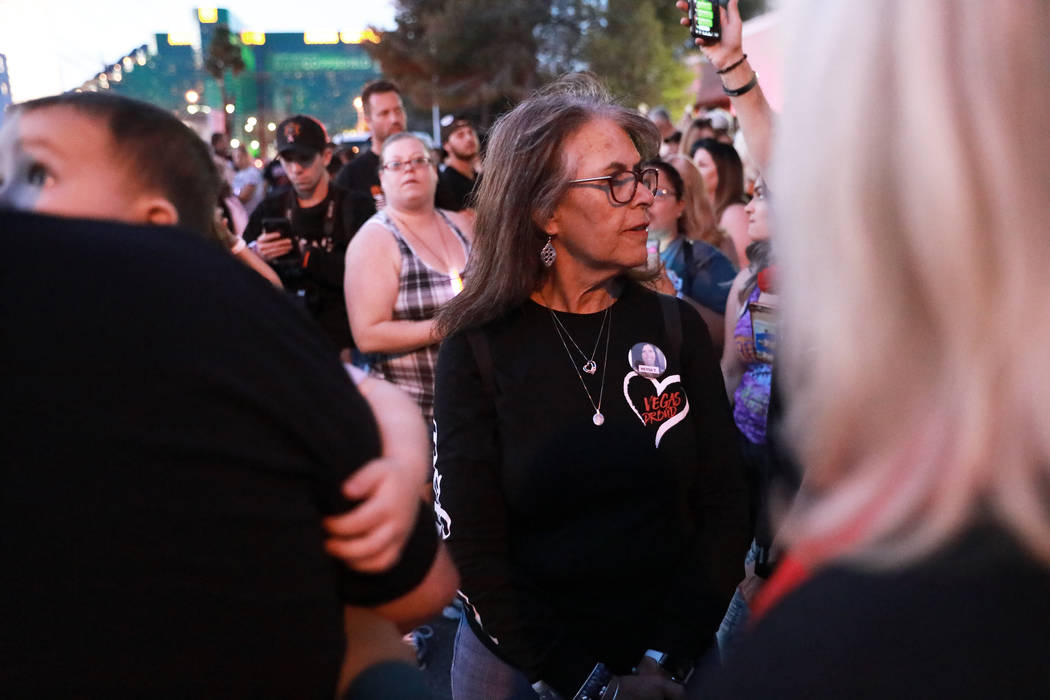 Debbie Davis, mother of Neysa Tonks who was killed in the shooting, attends the Route 91 Candlelight Vigil near Mandalay Bay in Las Vegas on Sunday, April 1, 2018. Andrea Cornejo Las Vegas Review- ...