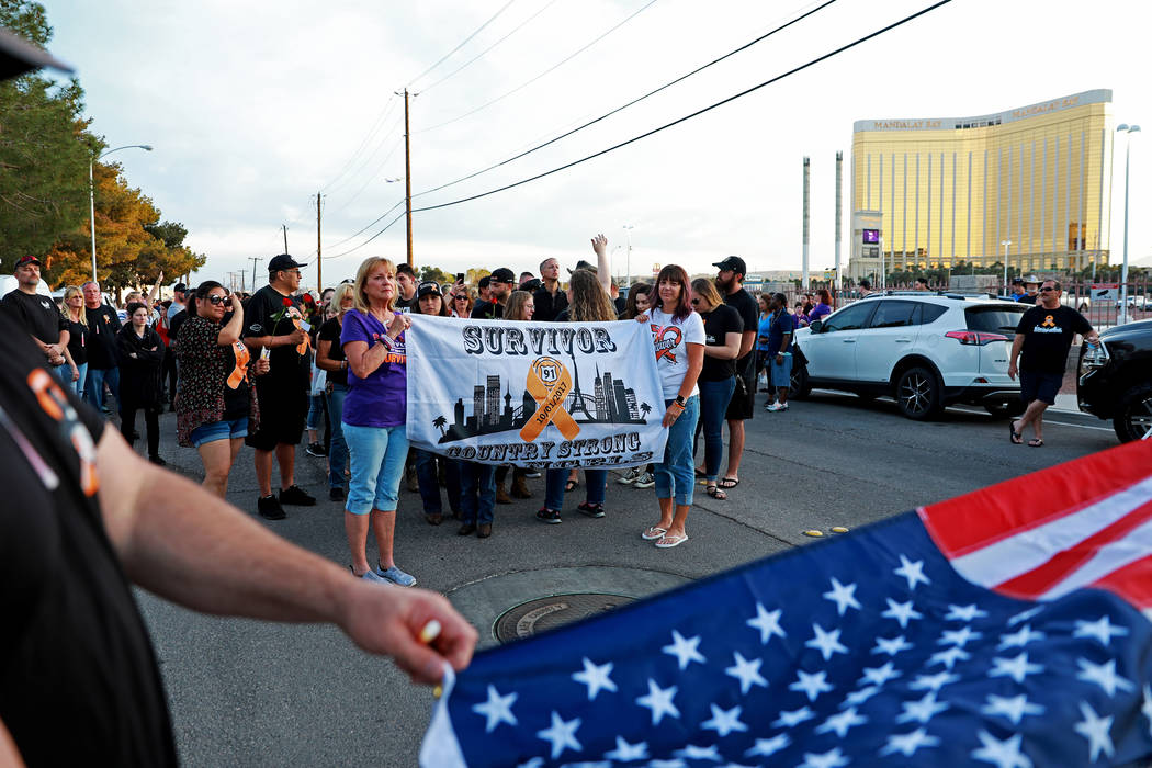 Attendees march for the Route 91 Candlelight Vigil near Mandalay Bay in Las Vegas on Sunday, April 1, 2018. Andrea Cornejo Las Vegas Review-Journal @dreacornejo