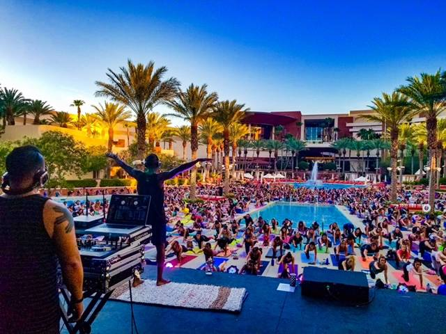 Tomorrow ( Oct. 19), is the final outdoor Silent Savasana event for the season at Red Rock Resort. More than 1,000 fans turned out for the recent Red Rock Resort event at its massive pool. (Courtesy)