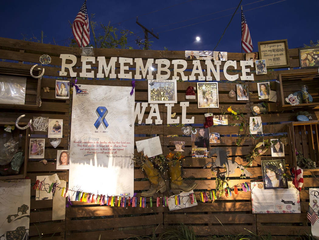 The Remembrance wall at the Community Healing Garden in downtown Las Vegas, Thursday, Nov. 30, 2017. Richard Brian Las Vegas Review-Journal @vegasphotograph