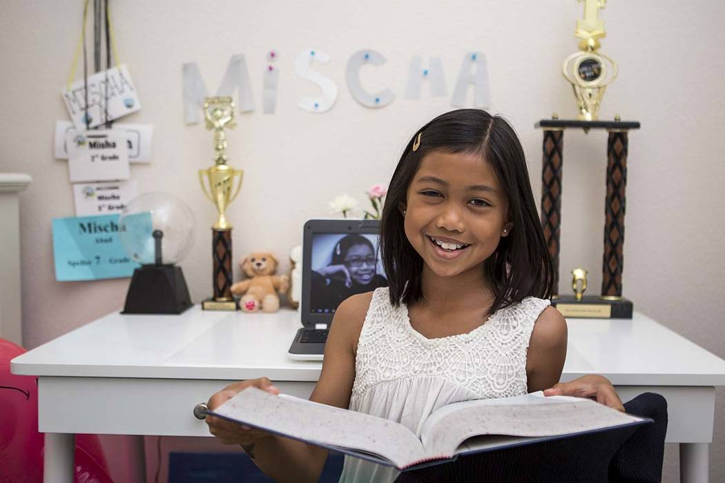Nevada State Spelling Bee champion Mischa Abad, a fifth-grader from Somerset Academy Stephanie Campus, is seen at her Henderson home on Thursday, March 29, 2018. Patrick Connolly Las Vegas Review ...