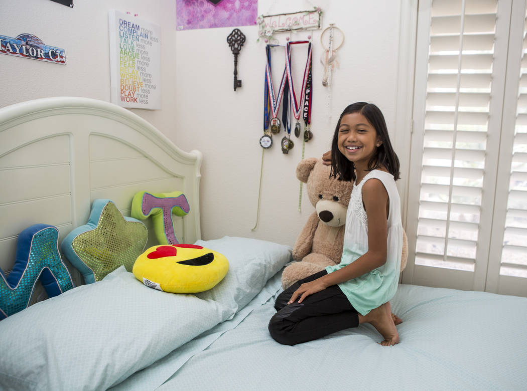Nevada State Spelling Bee champion Mischa Abad, a fifth-grader from Somerset Academy Stephanie Campus, at her Henderson home on Thursday, March 29, 2018. Patrick Connolly Las Vegas Review-Journal ...