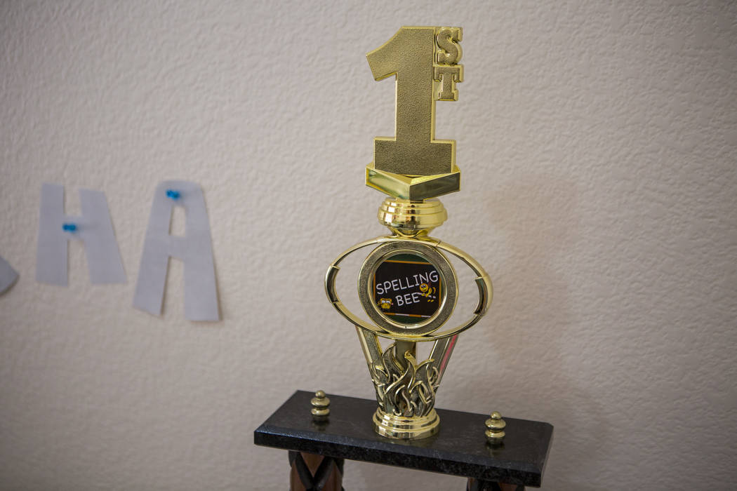 Nevada State Spelling Bee champion Mischa Abad's first place trophy at her Henderson home on Thursday, March 29, 2018. Patrick Connolly Las Vegas Review-Journal @PConnPie