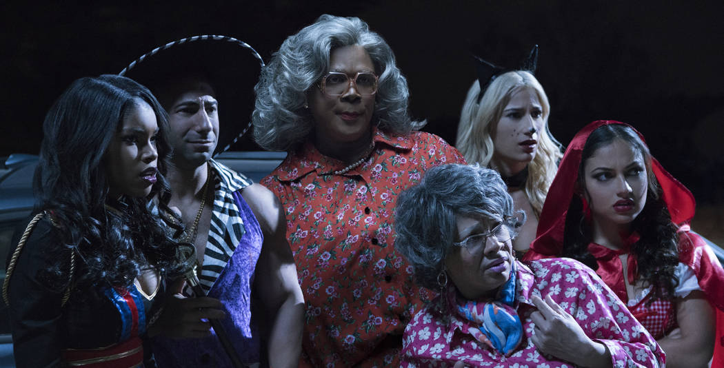 "From L to R: Diamond White as ""Tiffany,"" Yousef Erakat as ""Jonathan,"" Tyler Perry as ""Madea,"" Patrice Lovely as ""Hattie,"" Lexy Panterra as ""Leah,"" and Inanna Sarkis as ""Gabriella"" in Tyler Perry ..."
