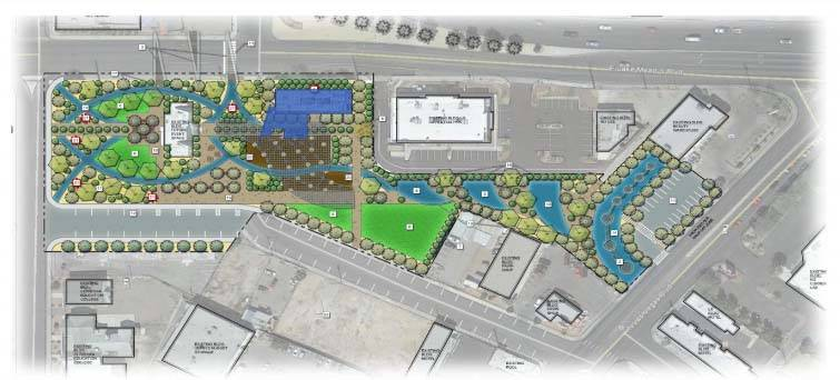 A rendering of the library site shows plans for open spaces. (SH Architecture/Southwick Landscape Architects/City of North Las Vegas)