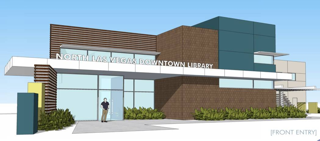The new North Las Vegas Main Downtown Library will replace the library space housed on the first floor of City Hall. Rendering by SH Architecture.