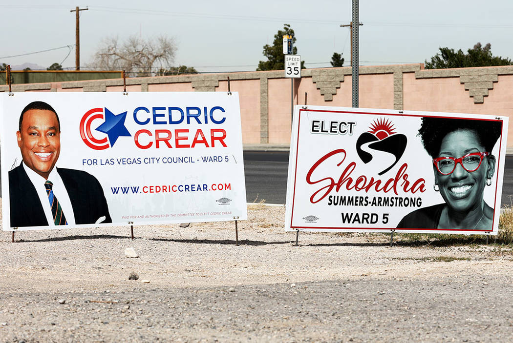 Political signs for some of the candidates vying to represent Ward 5 on the Las Vegas City Council are seen in Las Vegas, March 8, 2018. (Andrea Cornejo Las Vegas Review-Journal)