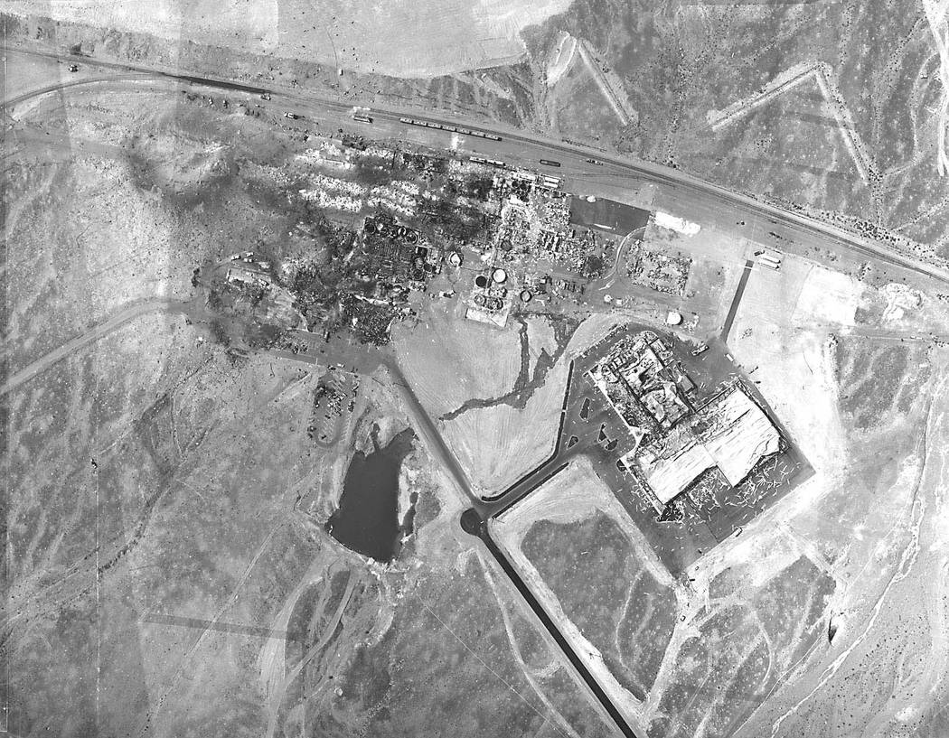 An aerial photo of the PEPCON site after the May 4, 1988, explosions. (File Photo)