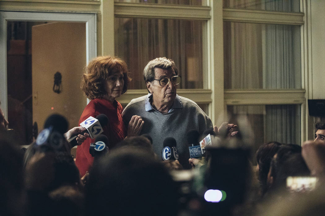 "Kathy Baker and Al Pacino in a scene from ""Paterno,"" which debuts Saturday on HBO. photo: Atsushi Nishijima/HBO"