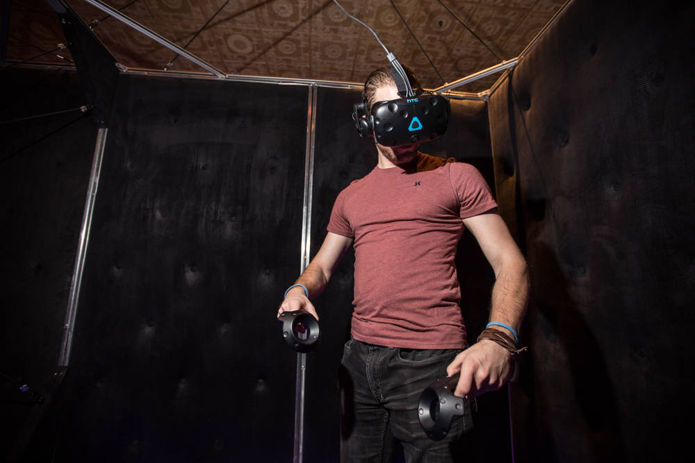 A Boyd employee gets ready to try IGT's new virtual-reality game on Friday, March 23, 2018, at The Orleans in Las Vegas. Todd Prince Review-Journal
