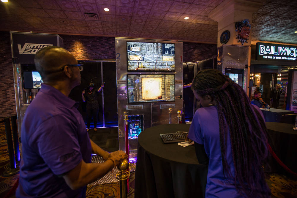 Instructors watch Boyd employees demonstrate IGT's new virtual-reality game on Friday, March 23, 2018, at The Orleans in Las Vegas. Todd Prince Review-Journal