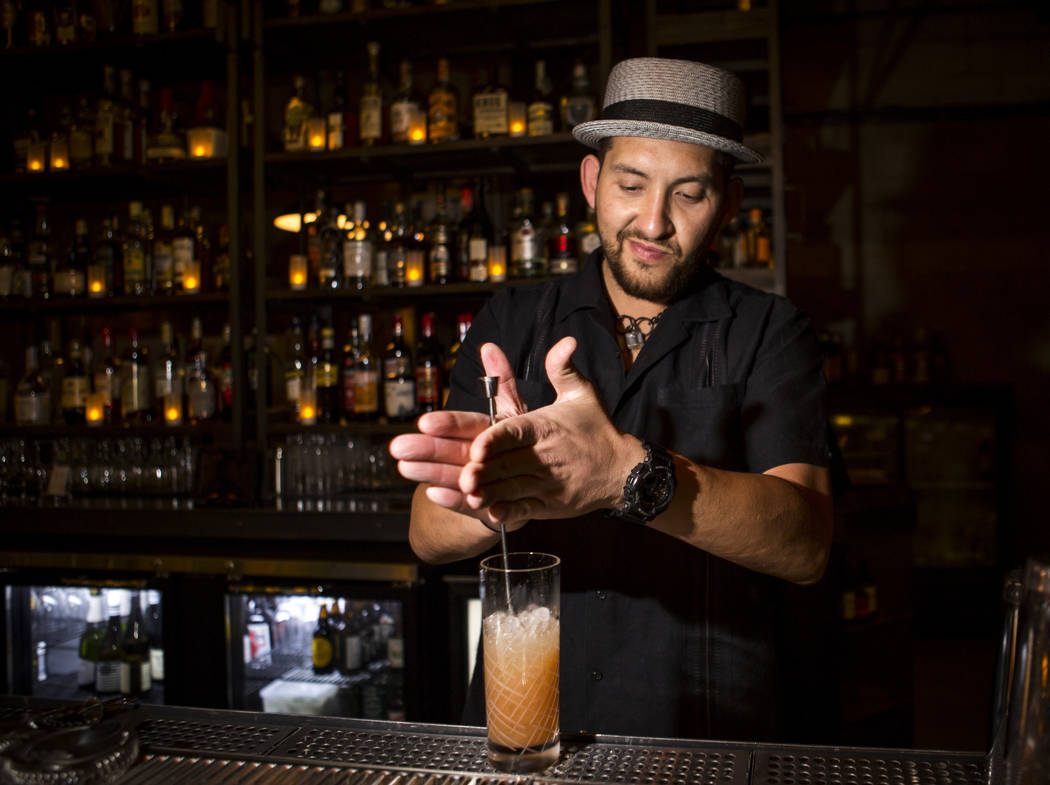 Jammyland co-owner Allan Katz prepares a Juniper Flats cocktail at Jammyland in Las Vegas' downtown arts district on Friday, March 30, 2018.   Patrick Connolly Las Vegas Review-Journal @PConnPie