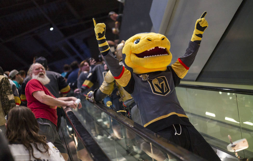9645ff6c4554 Golden Knights mascot Chance participates in a pregame parade at the  T-Mobile Arena before