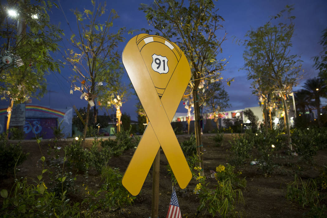A Route 91 Harvest festival sign is displayed at the Community Healing Garden in downtown Las Vegas, Thursday, Nov. 30, 2017. Richard Brian Las Vegas Review-Journal @vegasphotograph